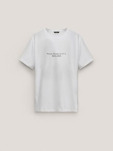Kortermet cotton t-skjorte med tekst