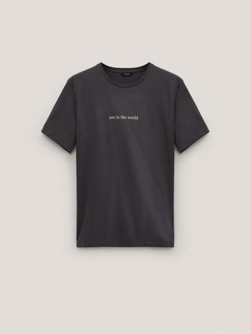 T-shirt message à manches courtes en coton