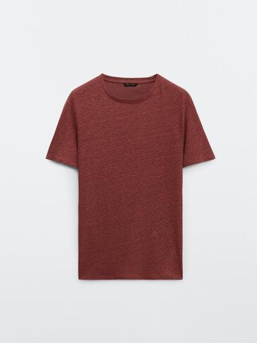 Κοντομάνικη μπλούζα από 100% λινό