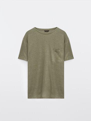 T-shirt en pur lin avec poche