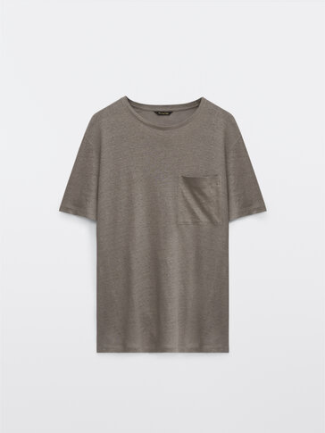 100% linen T-shirt with pocket detail