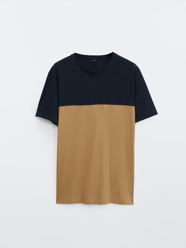 Cotton colour block T-shirt