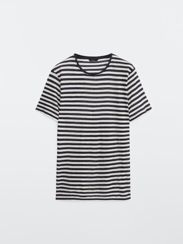 100% linen striped T-shirt