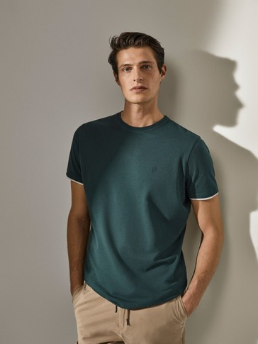 100% cotton contrast-sleeve T-shirt