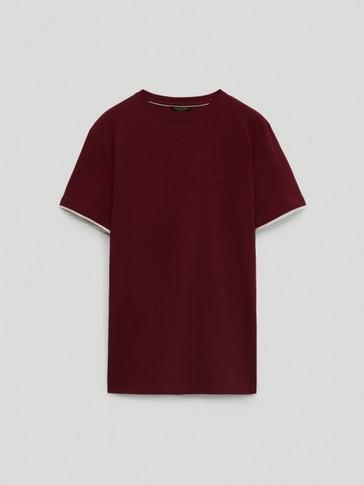 Camiseta mangas contraste 100% algodón