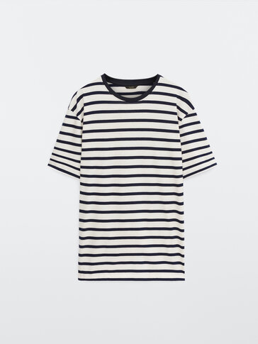 Cotton short sleeve striped T-shirt