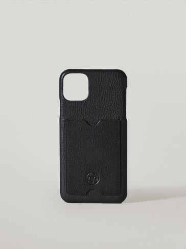 Leather iPhone 11 Pro Max case with card slot