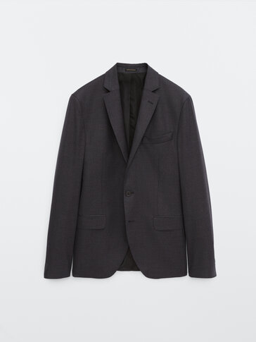 Slim fit houndstooth wool blazer