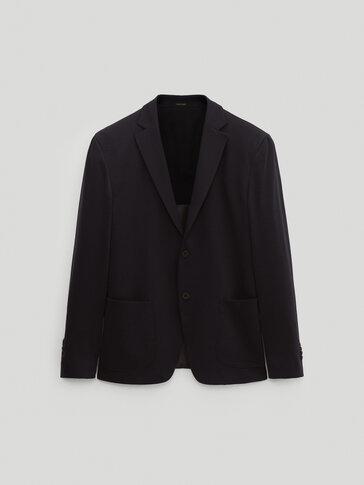 Slim fit wool/cotton blazer
