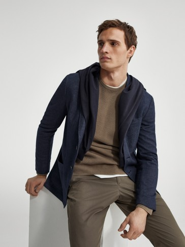 Slim fit false plain cotton blazer