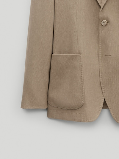 마시모두띠 Massimo Dutti Slim fit false plain cotton blazer,CAMEL