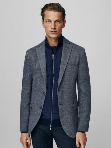 Veste cintrée en coton et en laine