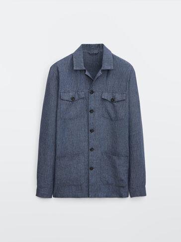 جاكيت قميصي من الكتان 100% مع جيوب