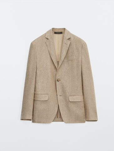 Regular fit linen herringbone blazer