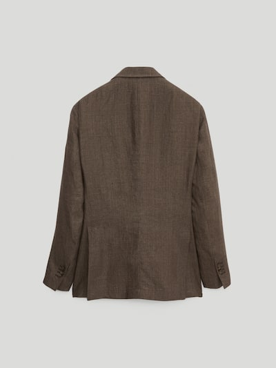 마시모두띠 Massimo Dutti SMART LINEN HOUNDSTOOTH BLAZER,BROWN