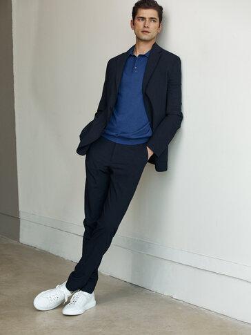 Americana lana azul marino slim fit