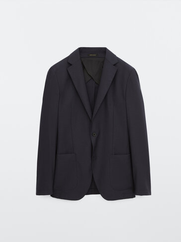 Slim fit 100% wool navy blazer