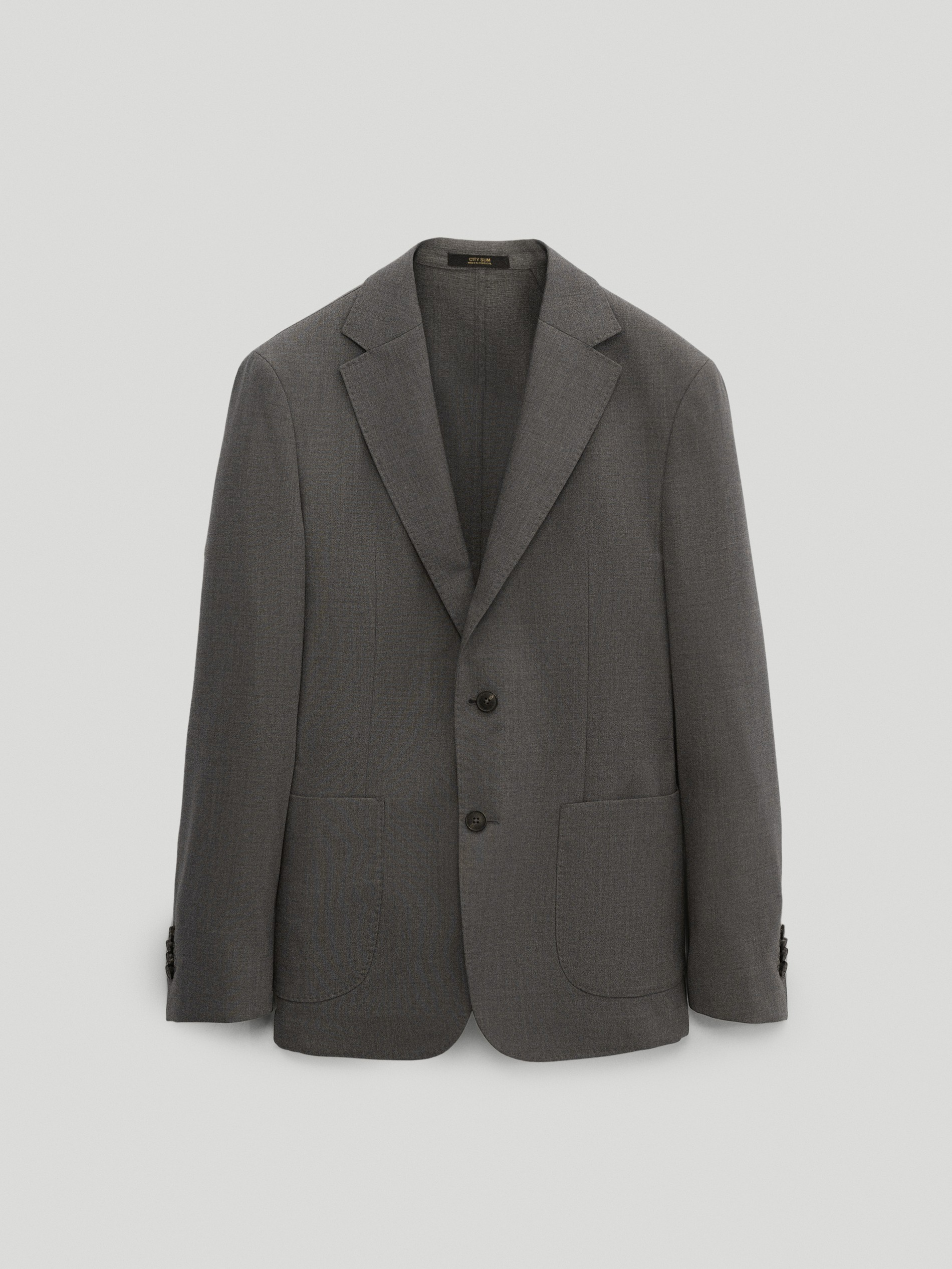 마시모두띠 Massimo Dutti Washable 100% super 120s wool slim city fit blazer,GREY