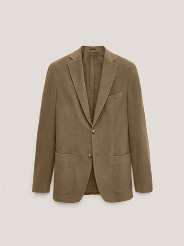Slim fit moleskin cotton blazer