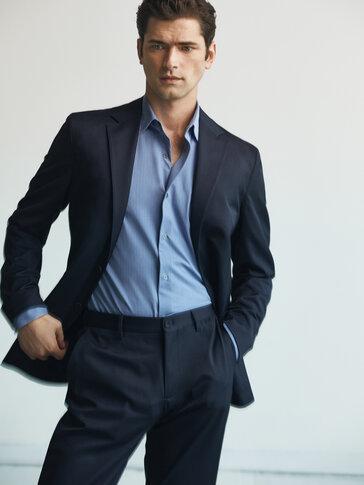 Slim fit wool mini stripe blazer