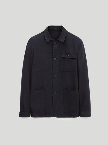 Houndstooth wool and linen overshirt