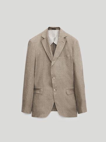 Slim fit 100% linen blazer