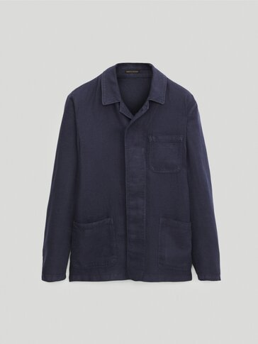 Slim-fit linen dyed overshirt
