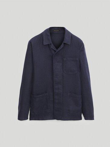 Вталено яке тип риза от лен с оцветена нишка