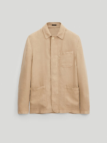 Slim fit dyed 100% linen overshirt