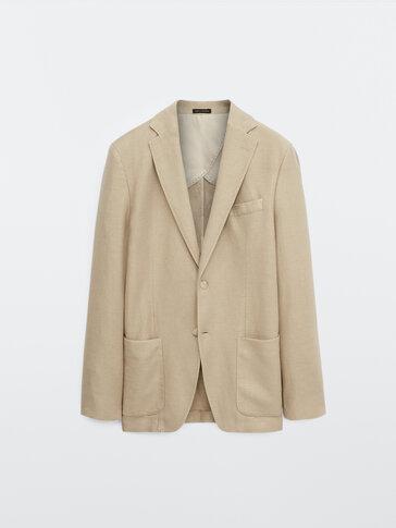 Slim fit cotton and linen blazer