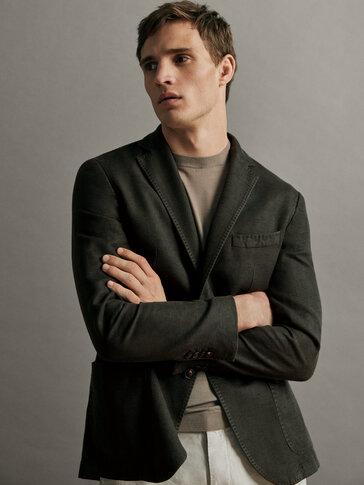 Вталено сако от текстуриран памук и лен