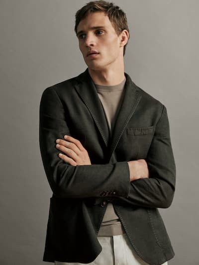 마시모두띠 Massimo Dutti Slim-fit textured cotton and linen blazer,KHAKI