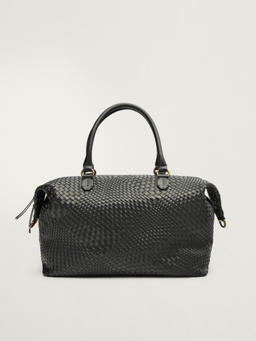Black braided leather weekender bag