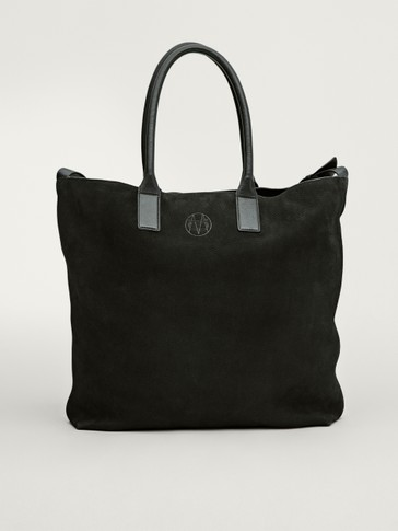 Nubuck leather tote bag
