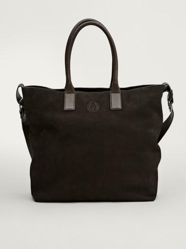 Nubuck leather tote bag