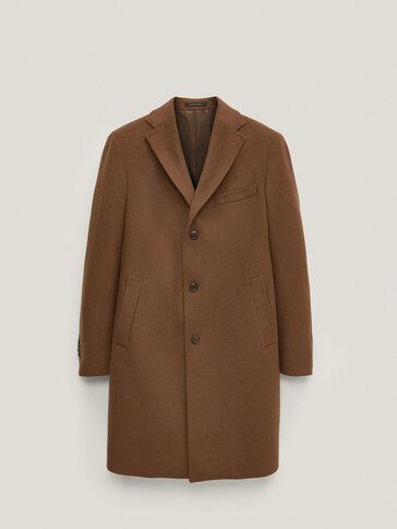 Μονόχρωμο παλτό από 100% μαλλί