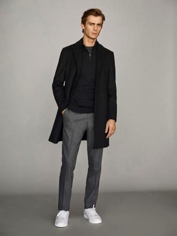 Μαύρο παλτό από 100% μαλλί με καπιτονέ εσωτερικό