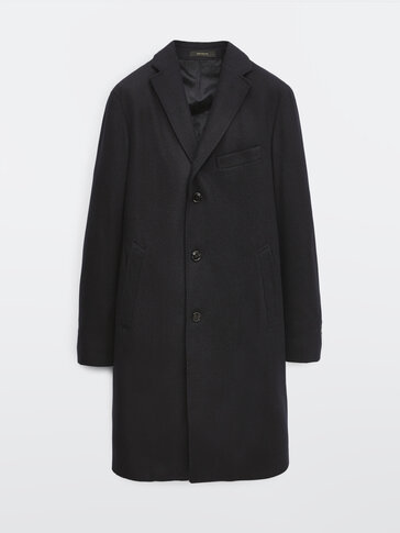Abrigo espiga 100% lana azul marino