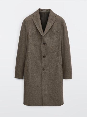 Mantel aus reiner Wolle mit Hahnentrittmuster