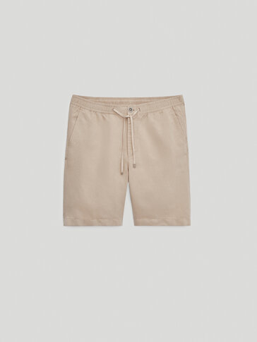 Faded-effect cotton linen Bermuda shorts