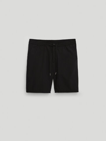 Matte black technical poplin Bermuda shorts - Limited Edition