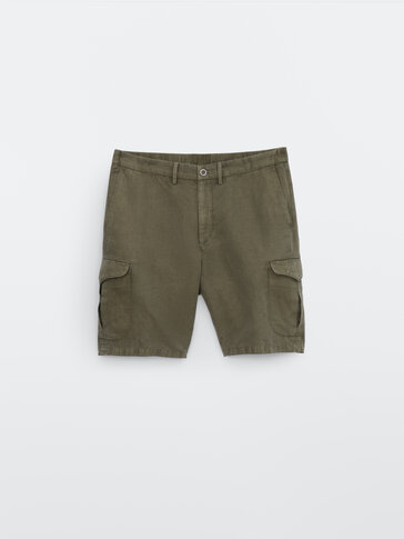 Cotton and linen cargo Bermuda shorts