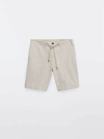 Striped cotton and linen Bermuda shorts
