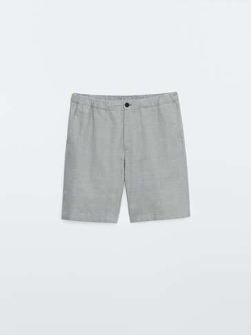 Check cotton and linen Bermuda shorts
