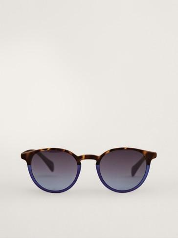Blaue Sonnenbrille in Schildpattoptik