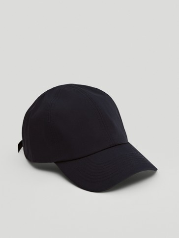 Cotton cap with topstitching detail