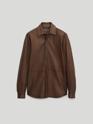 Nappa leather overshirt