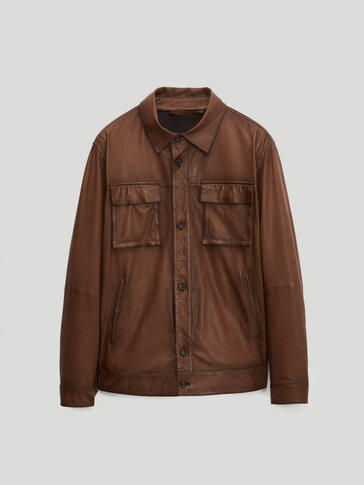 Nappa leather jacket with pockets