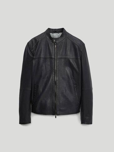 Navy blue nappa leather jacket