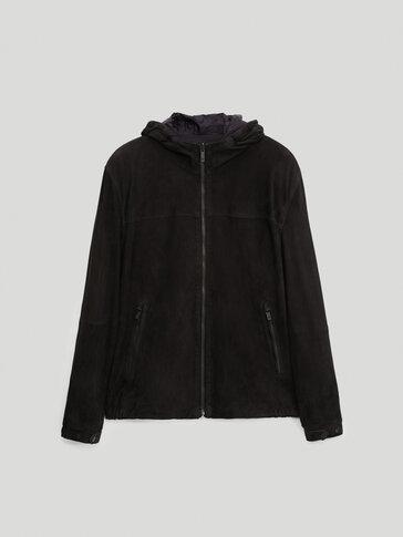 Jachetă din piele întoarsă reversibilă cu glugă